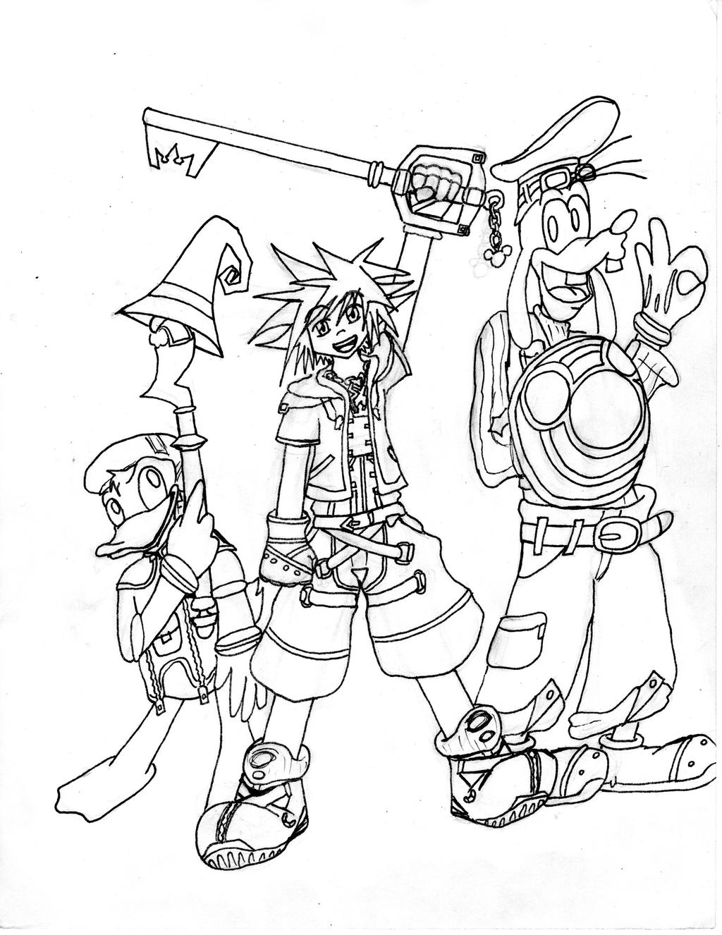 Kingdom Hearts Lineart : Kingdom hearts line art by axeldk on deviantart