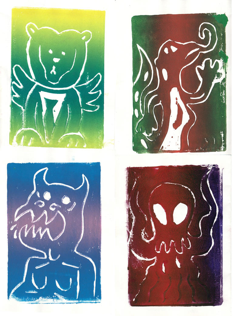 Colorful Mythical Beasts (Printmaking) by AxelDK64