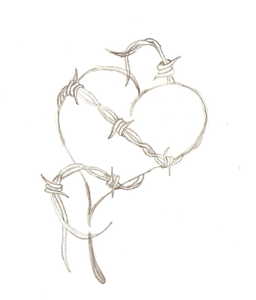 barbed wire heart drawing-#2