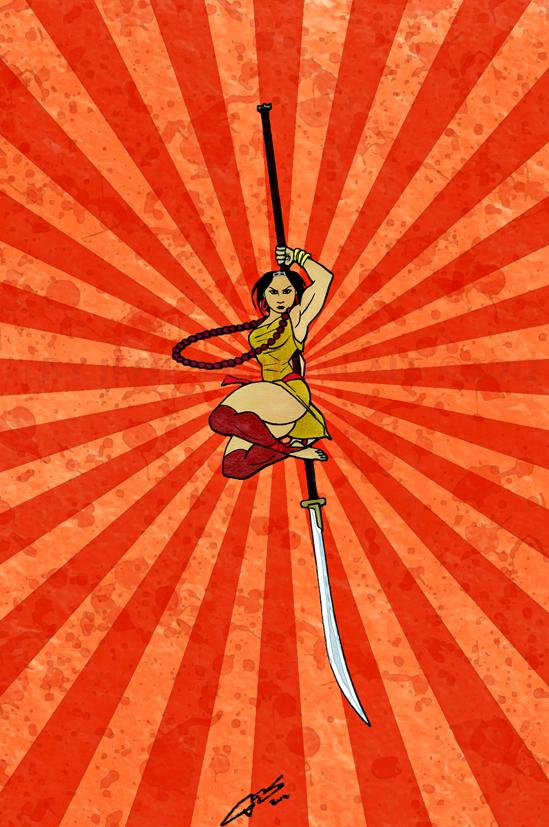 Gina Nackiomi- Naginata leap slash by LavenderBlade
