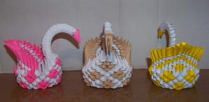 Mini 3D Origami Swans