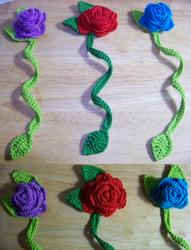 Crochet Rose Bookmarks