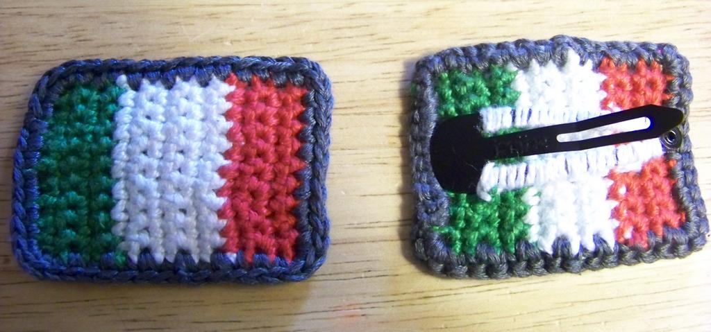 Crochet Italian Flag Hair Clips