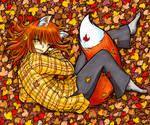 Warm Foxgirl Cuddling in Leaves