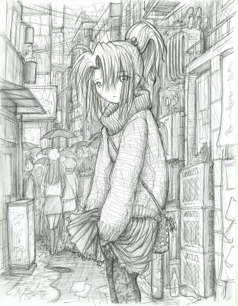 Kimiko in the Rain by fredrin