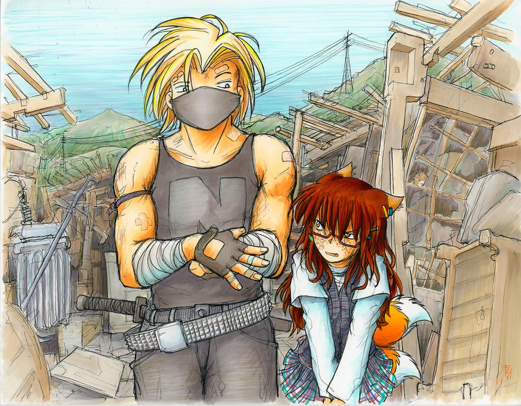 Junpei and Yakugashi by fredrin