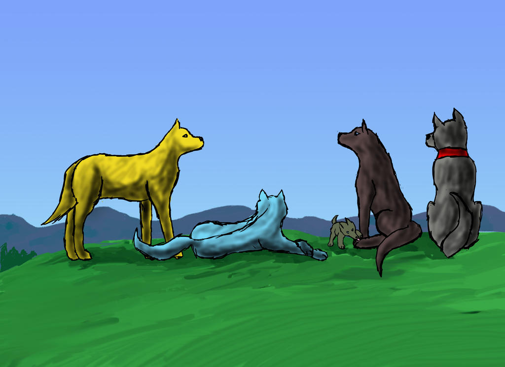 Wolves in a field by crownvetchponylover9