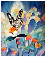 Butterfly and flowers by NoraMarquez