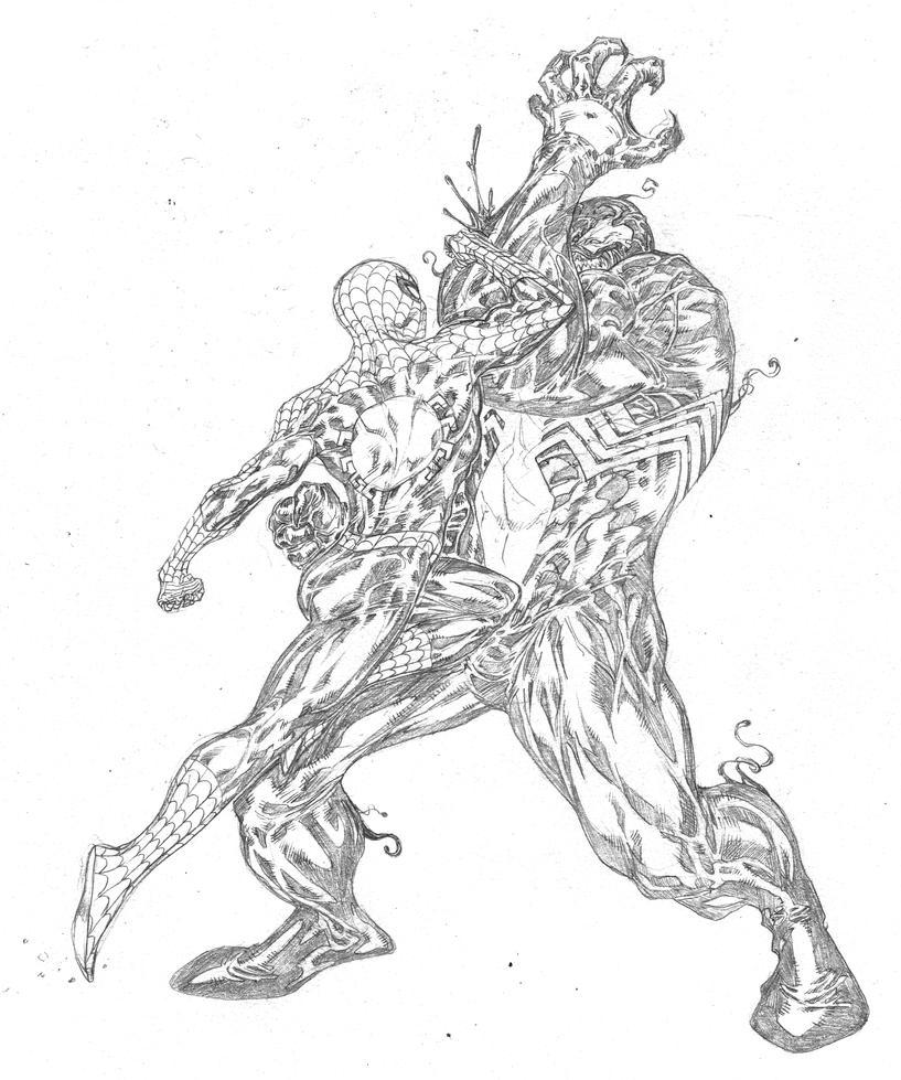 Venom vs spider man by spiderguile on deviantart for Spiderman vs venom coloring pages