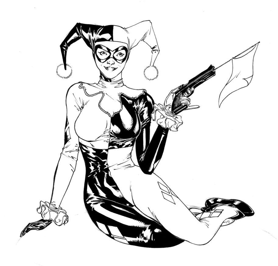 Quinn Line Art : Harley quinn by spiderguile on deviantart