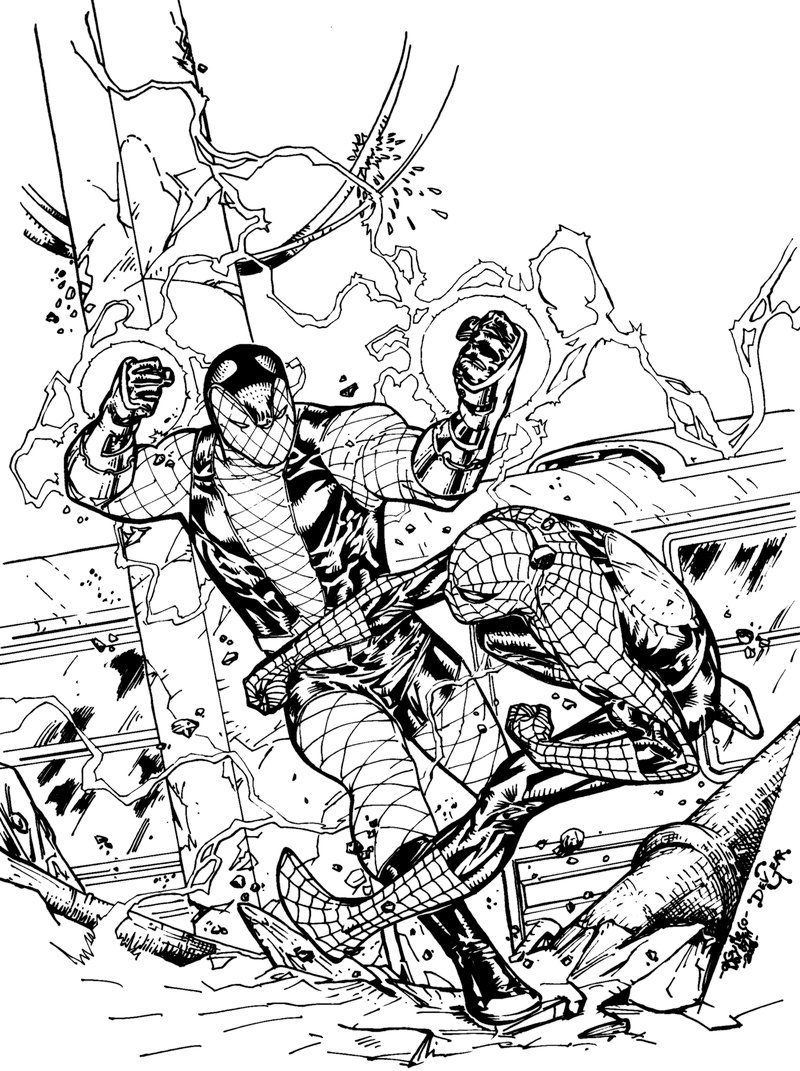 Spidey vs Shocker - DevG inks by SpiderGuile