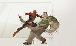 Spidey VS Sandman with Cheeks by SpiderGuile