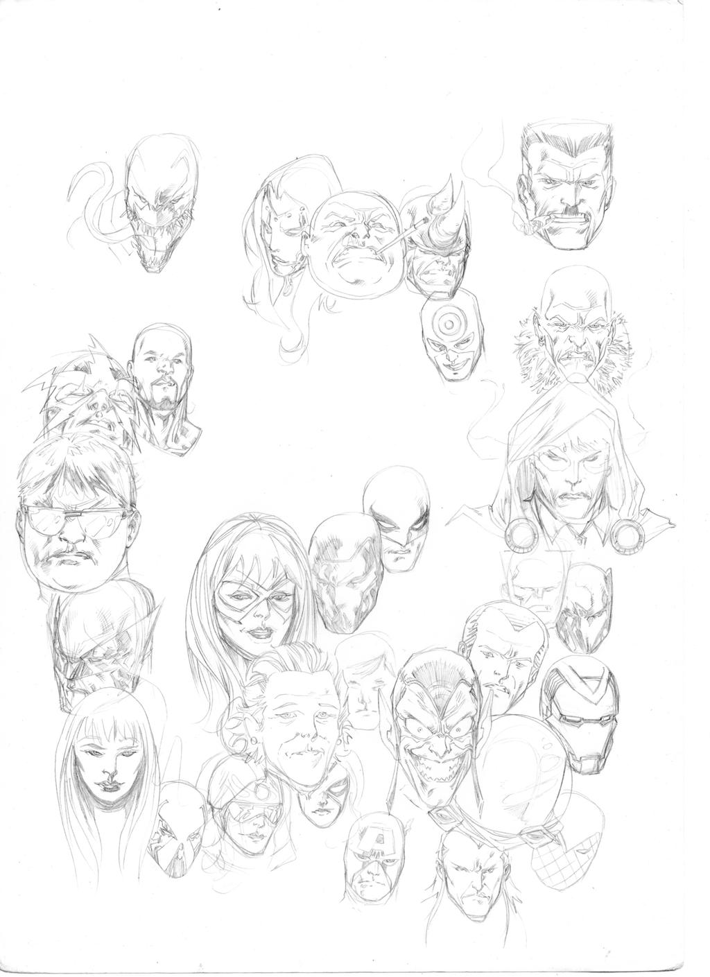 Spidey Thursday 26 headssketch by SpiderGuile