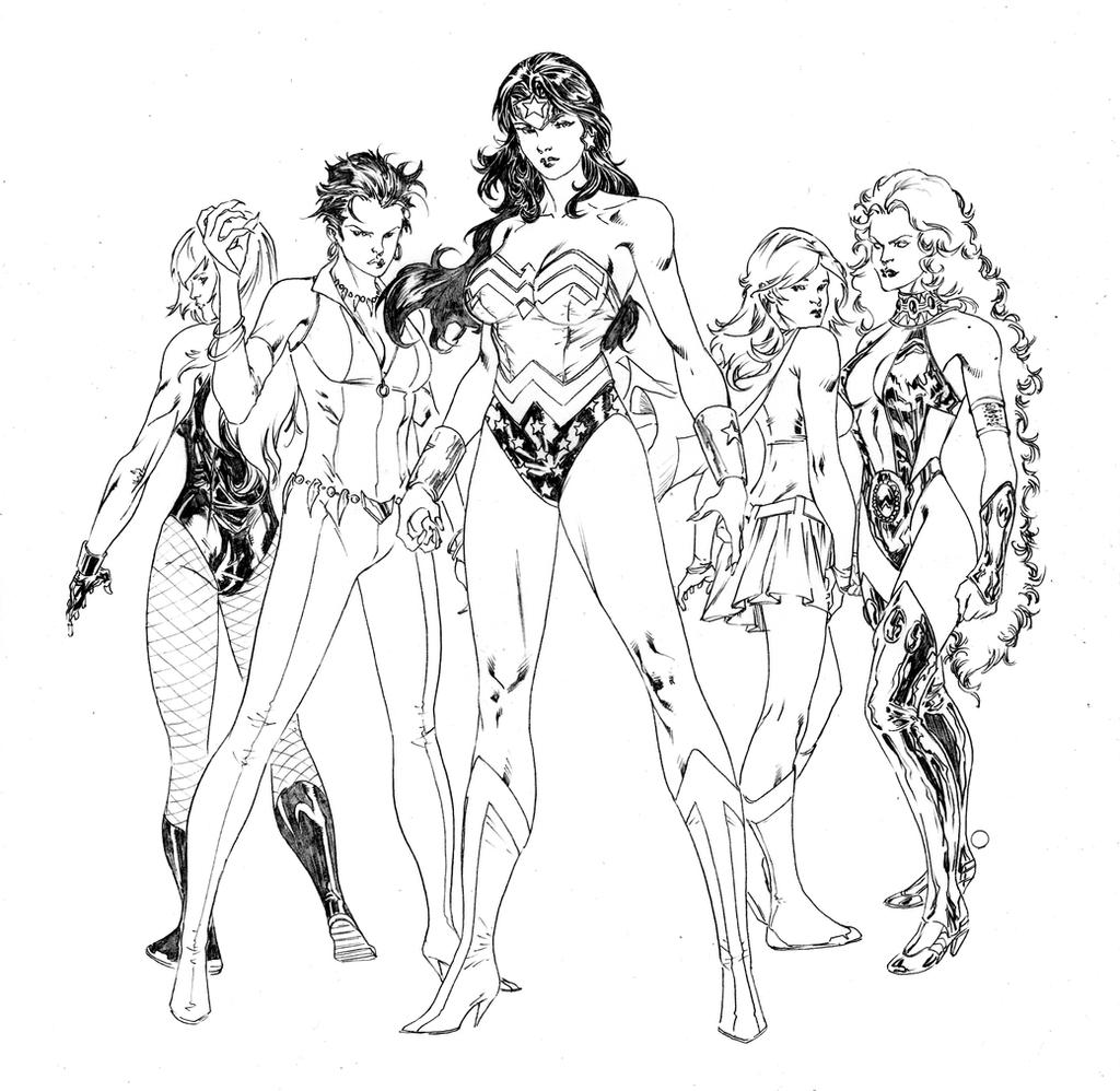 Women of dc comics by spiderguile on deviantart for Dc universe coloring pages