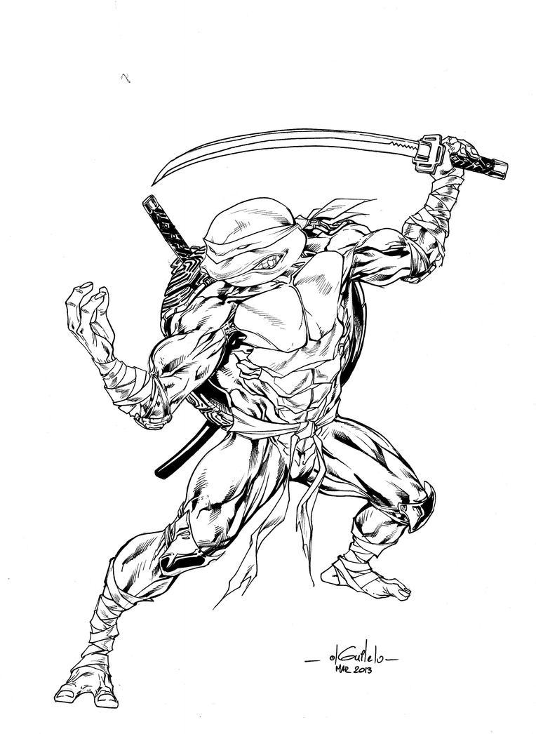 Teenage mutant ninja leonardo by spiderguile on deviantart - Tortue a colorier ...