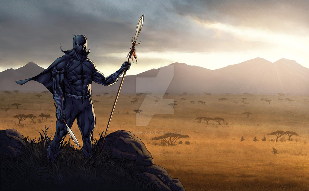 Black Panther in Wakanda savanna - Mark H. Roberts by SpiderGuile