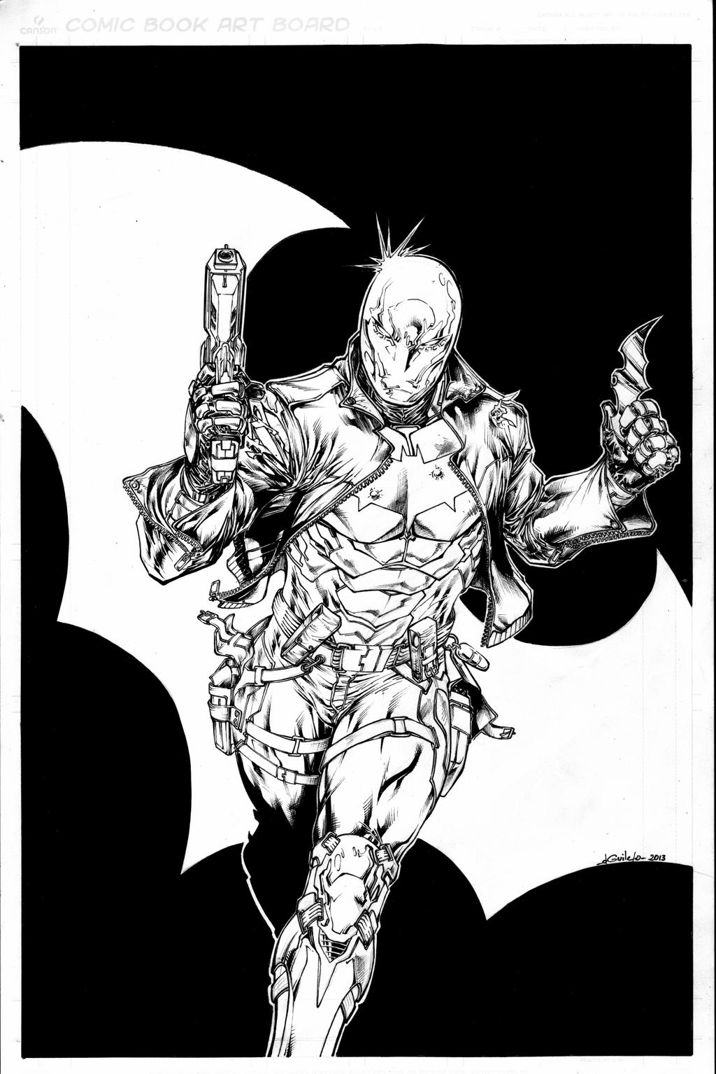 Red Hood leveled b&w inks - Dec28th2013 by SpiderGuile