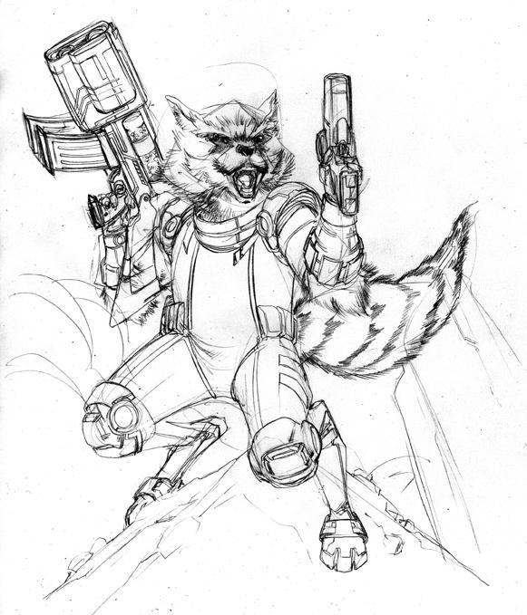 Line Drawing Raccoon : Rocket raccoon wip by spiderguile on deviantart
