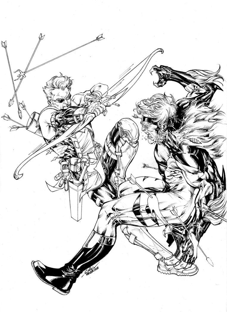 Hawkeye vs Sabretooth by SpiderGuile