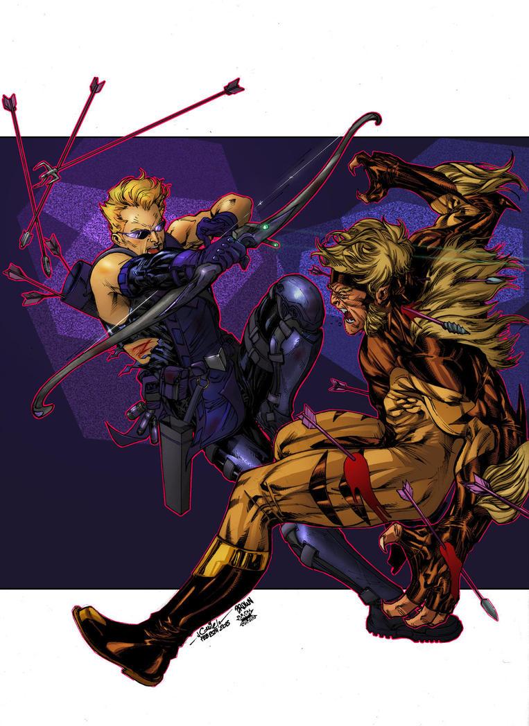 Hawkeye Vs Sabretooth - Timothy Brown Roberto AGM by SpiderGuile