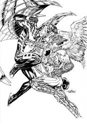 Archangel vs Hawkman by SpiderGuile