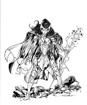 Scarlet Witch heroic Fantasy style