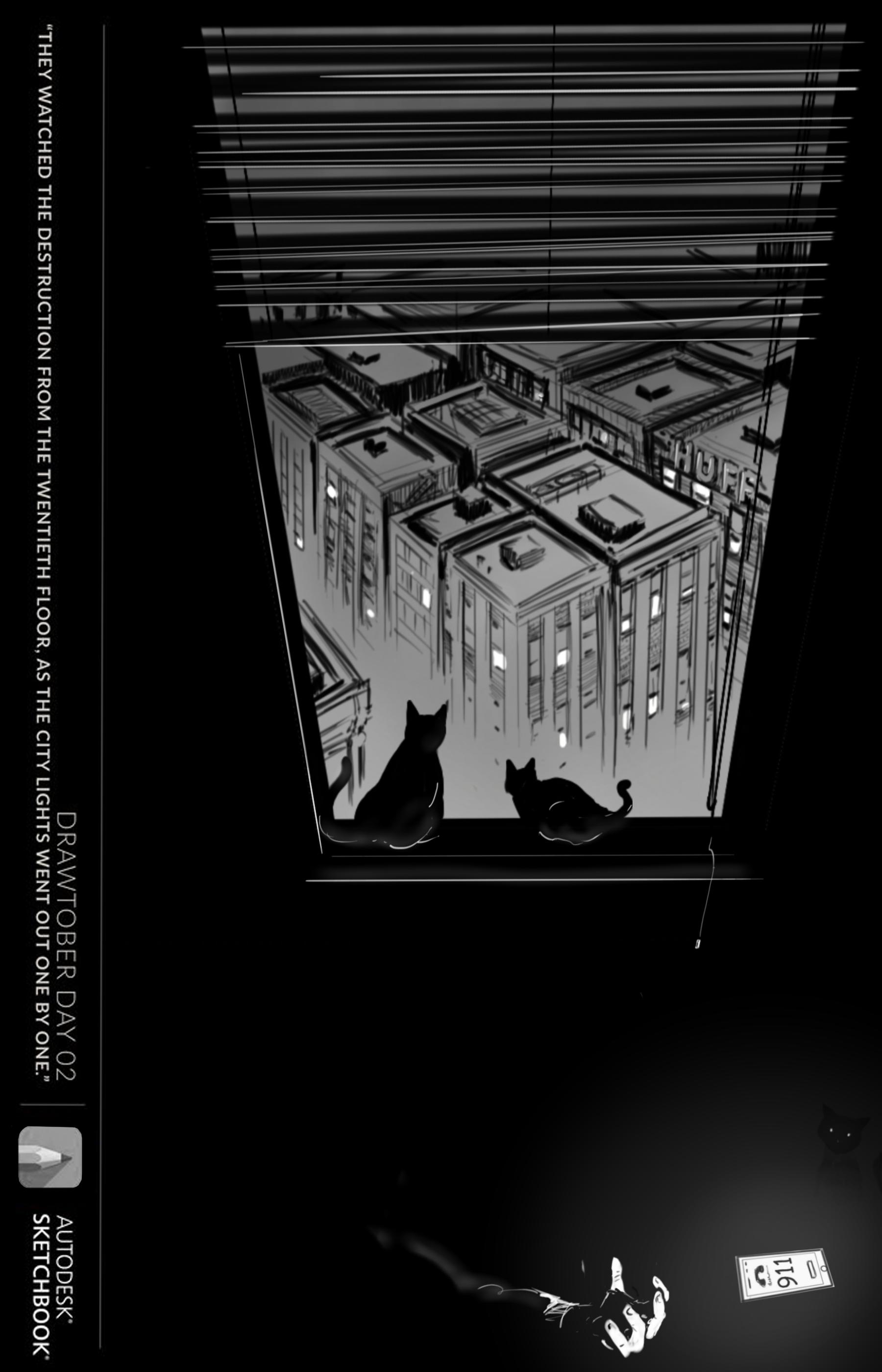 Drawtober Day - 02: Cats-eye view by Huffnstuff