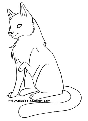 how to draw a cat sitting facing forward