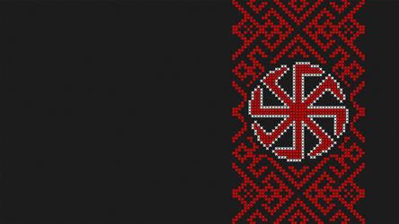 Cross stitch - Slavic sun wheel - Black by RelativelyAncient