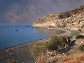 Myrtos beach in the morning by myrtos