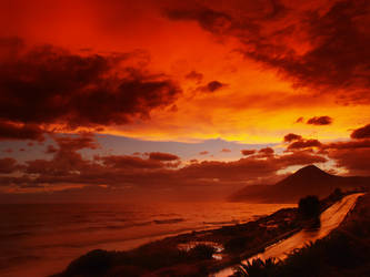 a fiery evening in myrtos by myrtos