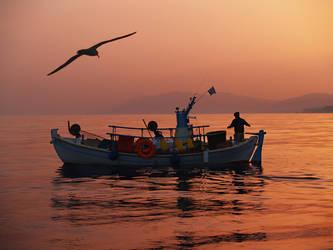 fisherman and bird by myrtos