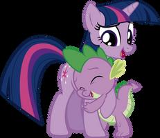 Twilight and Spike - Hug by J5A4