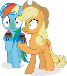 Rainbow Dash and Applejack - Eating bad cupcakes