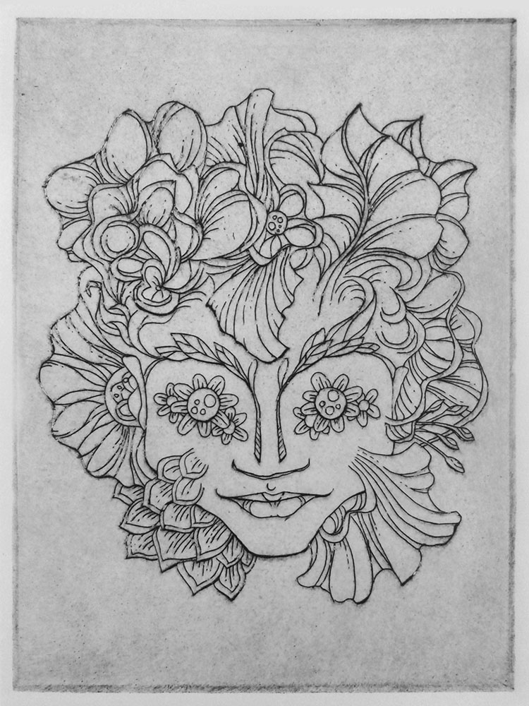 flowergirl etching by e47art