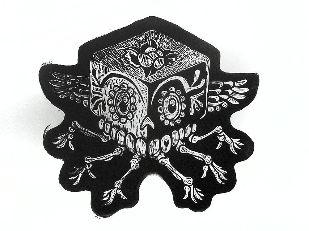 Muertos linoleum block print by e47art