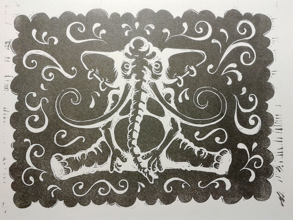 Daliphant lino block print by e47art