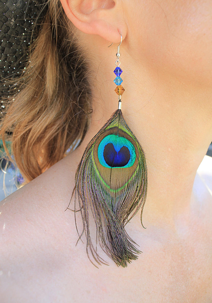 Sapphire Blue Turquoise Peacock Feather Earrings By