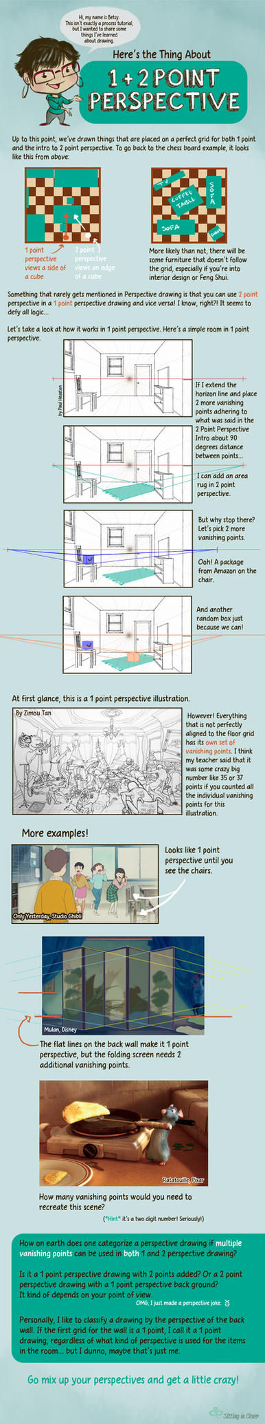 1 + 2 Point Perspective by betsyillustration