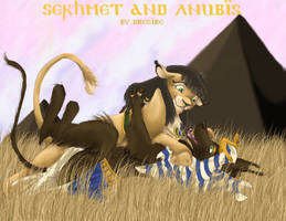 Anubis and Sekhmet in Love by egypt-club