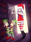 Mrs Claus catches Natalie and Jim the Xmas elfs