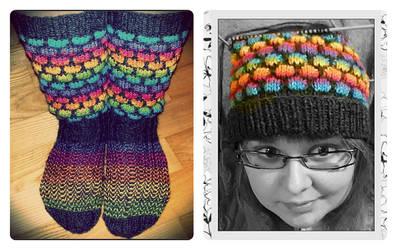Rainbow socks and slouchy beanie by Coccis