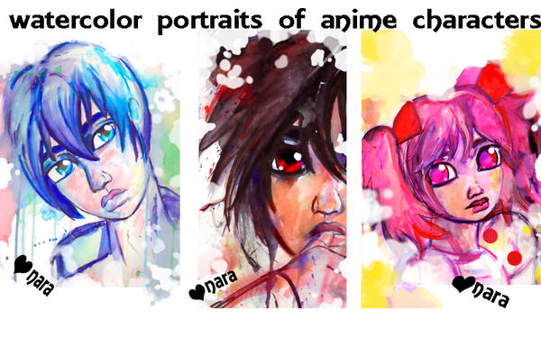 Watercolor Anime Portraits by prettyism