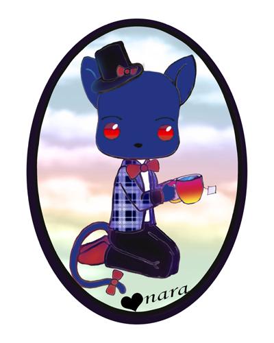 Blue Kitty Drinking Tea by prettyism