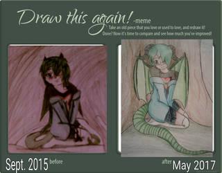 Draw This Again Meme: Dragon Girl by Moonfirewolf1