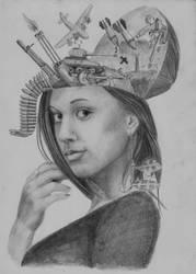 War in the head, Surreal portrait by AstralDallarth