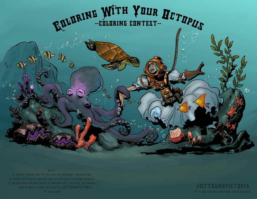 coloring with your octopus diving by ronron84 on deviantart