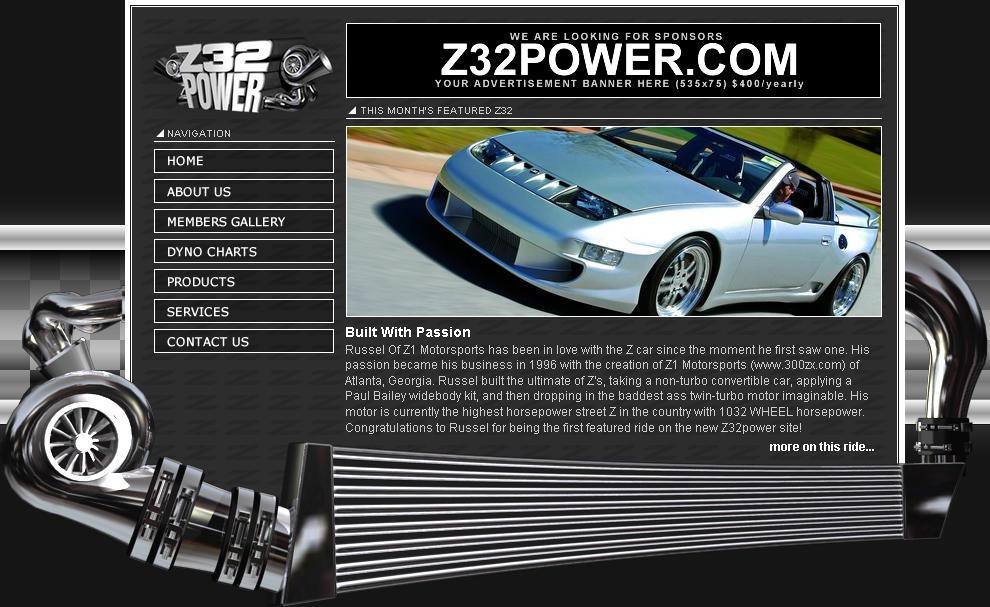 Z32POWER.com website interface by z32power