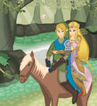 Link and Zelda riding on Epona by Keijix