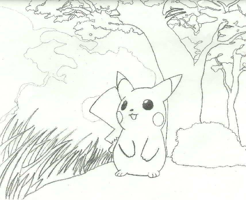 How To Draw A Cherry Blossom Tree In Pencil Pikachu and sakura tree by